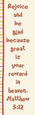 LOT 25 Christian Bookmarks, Scripture Matthew 5:12 Great for Bible School Study