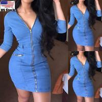 Women's Zipper V Neck Denim Mini Bodycon Dress Ladies Casual Jeans Skinny Dress