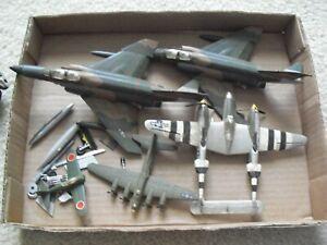 Lot of 5 Vintage Assembled Plastic Kit Built Fighter Plane Airplane Models TLC