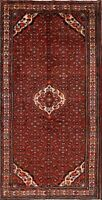 Vintage Geometric Traditional Red Hamedan Area Rug Hand-Knotted Wool Carpet 6x11
