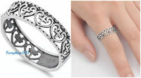 Sterling Silver Woman's Heart Cross Love Ring .925 Band 6mm Sizes 4-13