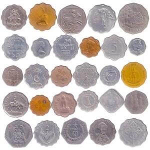 30 COINS WITH UNUSUAL SHAPES AND FORMS: SQUARE, HEPTAGON, SCALLOPED EDGES...