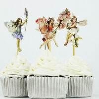 Lovely Cake Decor 24pcs Flower Fairy Girls Cupcake Toppers Party Picks Food Pick