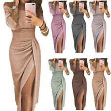 Elegant Fashion Women Sexy Boat Neck Glitter Dress Evening Party Formal Dress