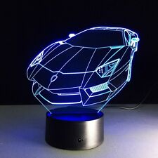 Iluminado LED 3D Coche Lámpara De Mesa De Luz ilusión Micro USB noche 7 Cambio de Color