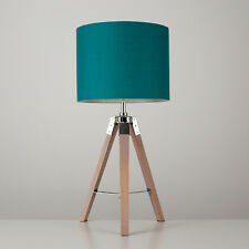 Large Wooden Industrial Style Tripod Bedside Table Lamp Teal Lampshade Light