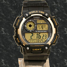 Casio AE-1400WH-9AV World Time 5 Alarms Watch 10 Year Battery LED Light New
