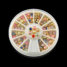 3D Nail Art Tips Pearls 120pcs Studs Glitter Rhinestone DIY Decoration+Wheel