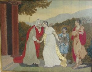 Large Late 18th C. HAND MADE EMBROIDERY on Silk w/ Watercolor Painting  c. 1780+