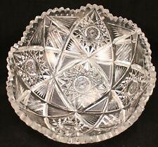 "Antique American Brilliant Deep Cut Crystal Scalloped Edge Bowl 9"""