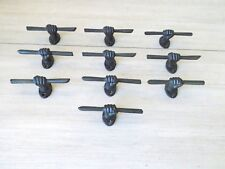 """10 Cast Iron Hand And Stick Brown 5"""" Ornate Drawer Pulls Cabinet Bin Handles"""