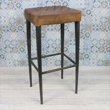 More details for vintage industrial kitchen bar stool brown quilted leather metal restaurant cafe