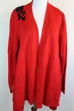 Investments Women Long Sleeve Sweater Cardigan Red Black Size XL Chunky