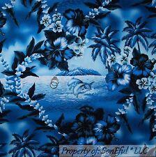 BonEful Fabric FQ Cotton Quilt Blue White DOLPHIN Flower L Toile Ocean Beach Sea