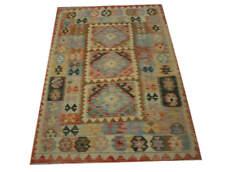 Tapis Chobi Kelim Orient 107x156 cm 100% laine tissé à la main beige bleu multi