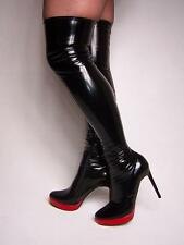 """BLACK OR RED PATENT LACK STRETCH HIGH BOOTS  SIZE 5-16 HEELS-5,5""""- POLAND"""
