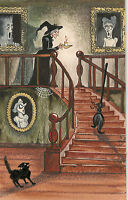 FOLK ART RYTA HALLOWEEN PRINT OF PAINTING WITCH BLACK CAT GHOULS VINTAGE STYLE