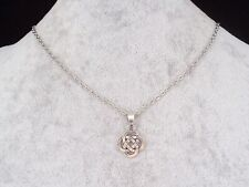 Bewitching Tibetan Silver Celtic Knot Pendant Silver Chain Necklace.Handmade