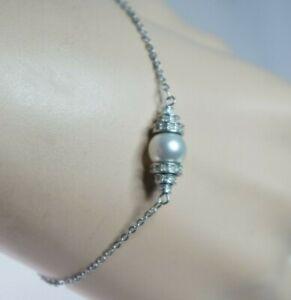 Authentic Swan Swarovski Cry/RHS Pearl Crystals Perpetual Bracelet #1106459 NWOT