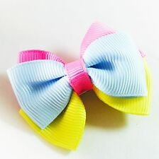 USA SELLER HANDMADE FABRIC Hair Clip  Pin child kid BOW Fashion Blue Pink Yellow