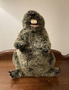 "Folkmanis Plush GROUNDHOG Hand Puppet Excellent Condition 12"""