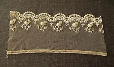 ANTIQUE  BEIGE TULLE LACE TRIM GREAT FOR A WEDDING VEIL FOR  DOLLS