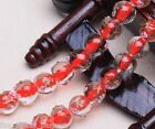 10pcs 10mm Round Flowers Loose Spacer Lampwork Glass Beads Jewelry Finding Red