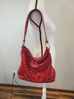 Brighton Cher Croc Embossed Red Patent Glossy Leather Shoulder Bag Satchel Tote