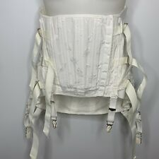 Vintage White In White Floral Boned Corset Garter Size 34 Lace Up Sides