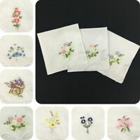 6PCS Cotton Napkin Embroidered Butterfly Lace Flower Hankies Assorted Cloth