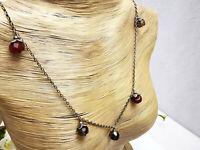 Vintage Silber Collier 925 + DH punziert mit Rauchquarze & Karneole 45 - 51 cm