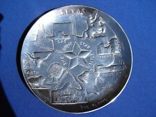 TEXAS Lone Star STATE Metal CHROME Collector PLATE History OIL GAS Cowboy