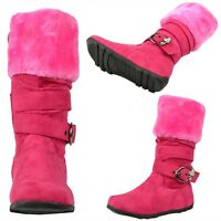 Kids Girls Knee High Boots Faux Fur Collar Rhinestone Buckle Strap Fuchsia