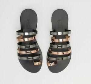 Greek Leather Sandals Women Handmade Slide Strappy Gladiator Flat Summer Fashion