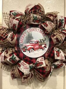 FARMHOUSE Red Truck CHRISTMAS WREATH 🎄 BURLAP Deco Mesh Buffalo Plaid RUSTIC