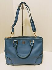 Tory Burch Ocean Blue Double Zip Robinson Spectator satchel with dust bag.