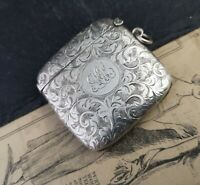Antique sterling silver vesta case, chased and engraved