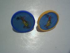 2 1979 RONALD McDONALD PLASTIC FLASHER RINGS,Playing Basketball,yellow,blue,usa