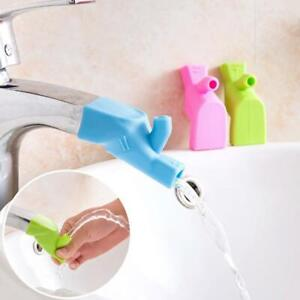 Kitchen Bathroom Silicone Water Faucet Tap Sink Extender Hand Wash Toddler V3Y7