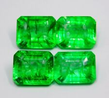 4 Piece Lot Natural Certified 8 to 10 Cts Each Colombian Emerald Loose Gemstone