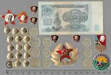 Rare Old Vintage Civil Pin Russia Army COLD WAR Coin Note Collection LOT/US:X11