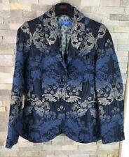 Escada Sport Ladies Size 38 Blue Floral Wool Silk Blazer Smart Jacket