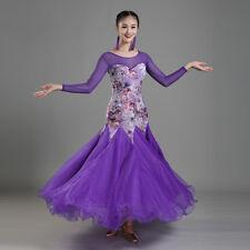 Latin Ballroom Dance Dress Modern Salsa Waltz Standard Long Dress#CB037 4 Colors