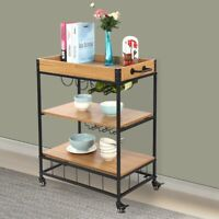 Industrial Rolling Bar Serving Cart with Wine Rack Kitchen Carts + 4 Wheels USA