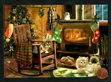 New ListingChristmas Giordano Kittens Cats Fireplace Stove Stockings Bows - Greeting Card