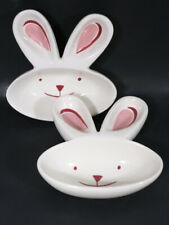 LOT 2 CRESCENT BUNNY RABBIT HEAD & EARS BOWLS CANDY DISHES