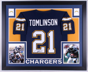 LaDainian Tomlinson Signed Chargers 35x43 Custom Framed Jersey (Beckett COA)