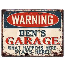 PPFG0212 WARNING BEN'S GARAGE Tin Chic Sign Home man cave Decor Funny Gift