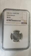 China Manchukuo 1 Fen Aluminium, KT 8  / 1941, NGC MS 63