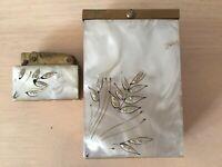 Vintag 50-s Japan Brass Ladies Lighter Cigarette Box Mother of Pearl Glit Tested